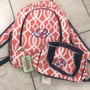 NWT N. Gil Backpack and Lunch Bag Coral Navy